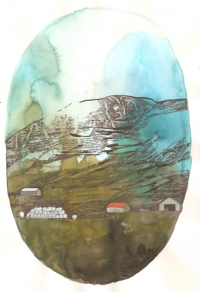 gård på avstånd, akvarell 2013