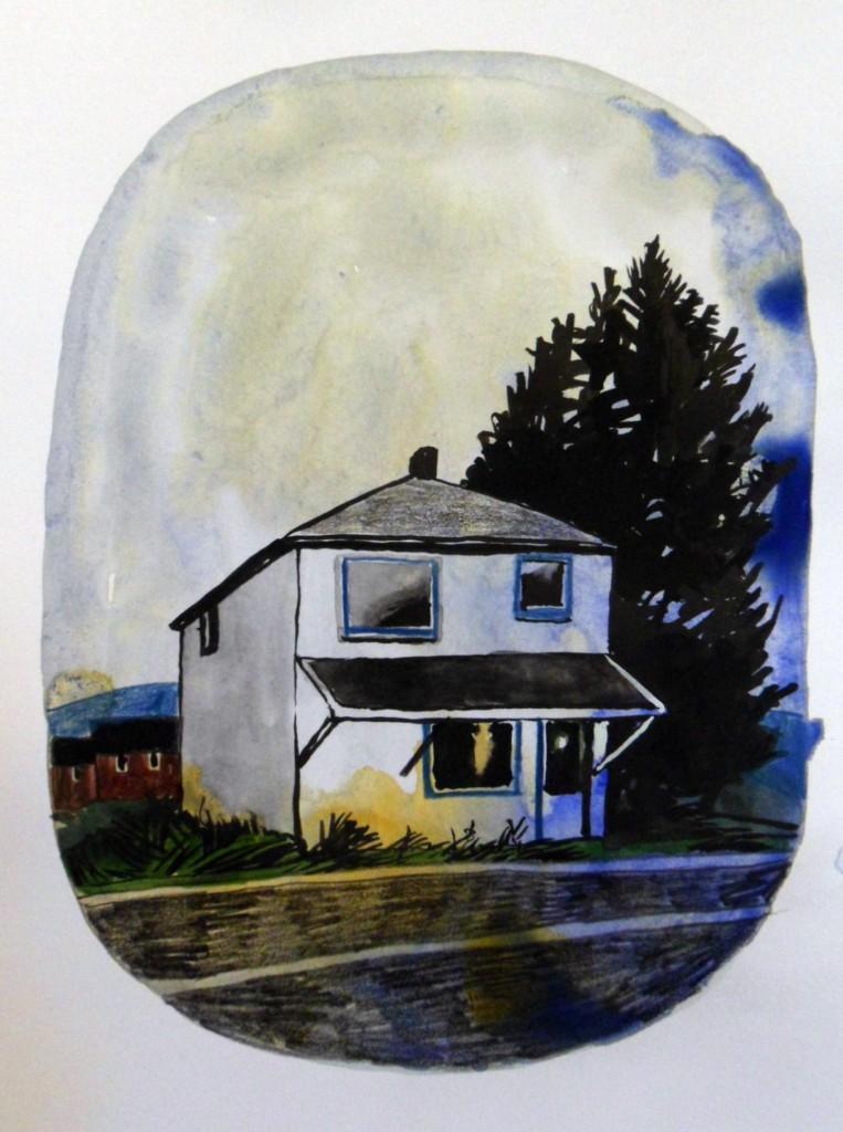 hus med granar